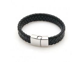 Мужской плетёный кожаный браслет