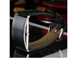 Электронные спортивные наручные часы со светодиодным дисплеем, стальным ободом, ремешком из натуральной кожи