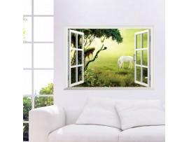 3D картина окна с видом на природу
