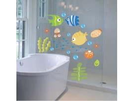 Настенные наклейки рыбы с пузырьками для ванной