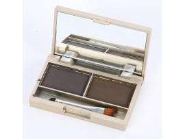 Мини палетка для макияжа 2 цвета с зеркалом и кисточкой