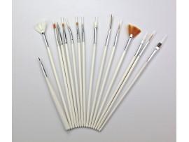 Набор кистей для дизайна ногтей (15шт)