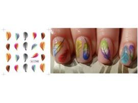 Наклейки перышки для дизайна ногтей
