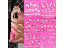 Серебристые наклейки для ногтей