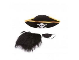 Маска пирата (повязка + шляпа + борода)